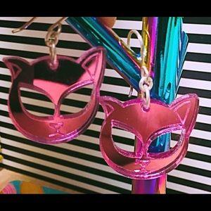 038e0197fd steven shein Jewelry - Steven Shein Perspex earrings, alien kitty cat